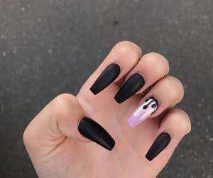 black nails, nail, and nails image
