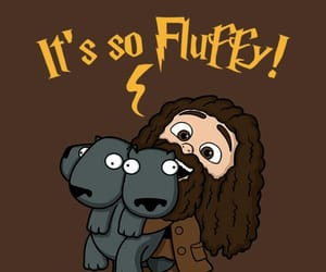 fluffy, harry potter, and hagrid image