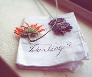 flowers, darling, and Letter image