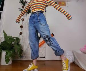 fashion, girl, and rainbow image