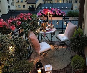 home, balcony, and flowers image