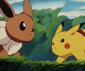 anime, eevee, and pikachu image