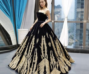 beading, formal dresses, and gold lace image