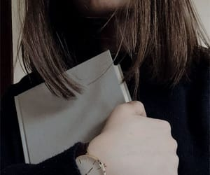 book, girl, and watch image
