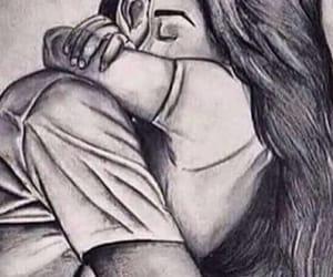 couple, drawing, and hug image