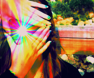 hands, rainbow, and triangle image