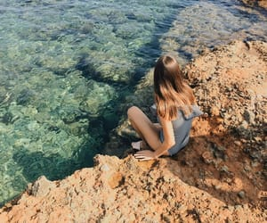 beach, ocean, and rocks image