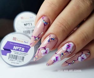 design, flower, and nail image