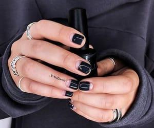black, nails, and rings image