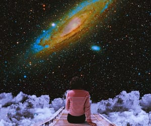 clouds, Collage, and galaxy image