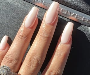 nails, pink nails, and nude nails image