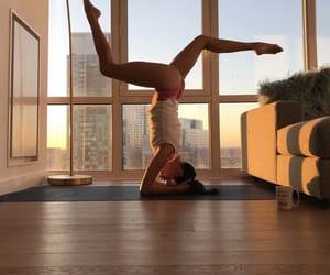 yoga, head stand, and asana image