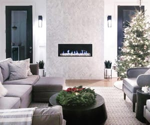 christmas, christmas tree, and fire place image