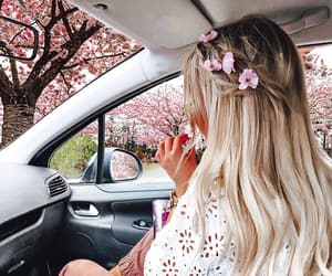 blonde, blossom, and girl image