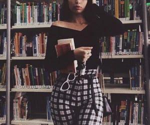 belt, books, and brunette image