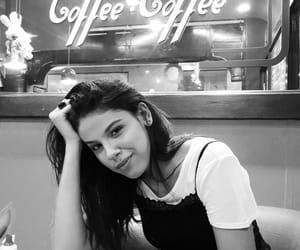 b&w, girl, and coffee image