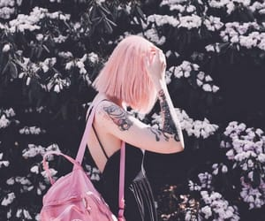 black, pink hair, and girl image