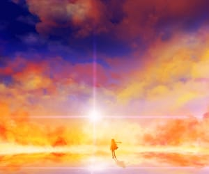 anime, clouds, and sunrise image