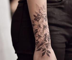 black, tatoo, and flowers image