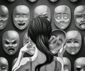 mask, face, and sad image
