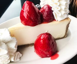 food, fruit, and cheesecake image