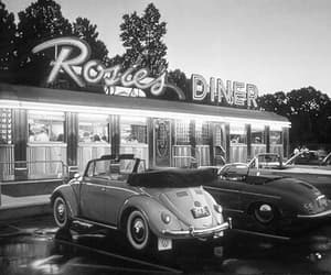 black and white, cars, and diner image