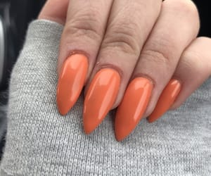 acrylics, orange, and acrylic nails image