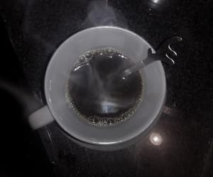 black coffee, coffee cup, and silver image