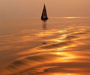 sea, sunset, and boat image
