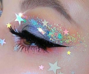 makeup, glitter, and stars image