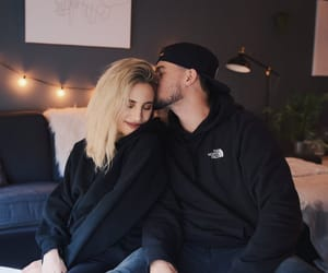 black sweater, blonde girl, and boyfriend image