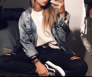 black jeans, jean jacket, and street style image