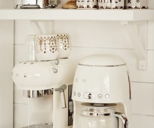 coffee, dishes, and fridge image