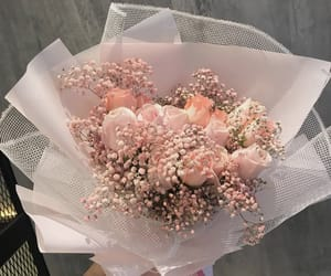 baby pink, bouquet, and flowers image