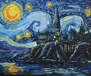 harry potter, hogwarts, and van gogh image