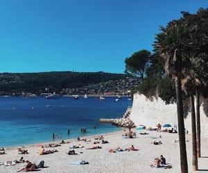 beach, mediterranean, and palm trees image