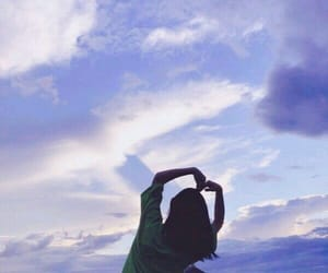 blue, girl, and sky image