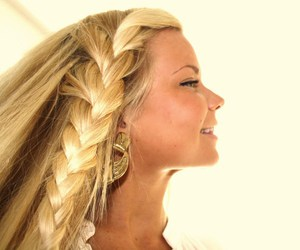 girl, plait, and hair image