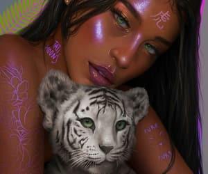 art, tiger, and animal image