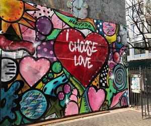 hearts, mural, and words image