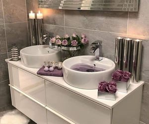 flowers, interior, and bathroom image