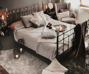 bed, bedroom, and blankets image