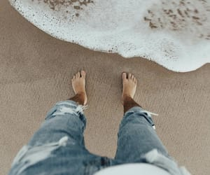 beach, feet, and jeans image