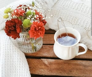 bouquet, flowers, and tea image