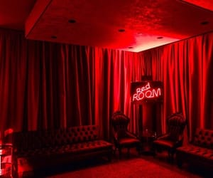 red, red neon, and red room image