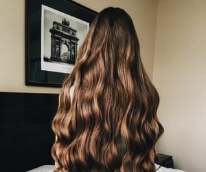 brown hair, long curly hair, and brunette image