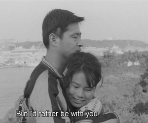 black and white, subtitles, and movie frames image