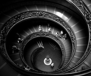 black and white, staircase, and stairs image