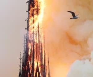 fire, notre dame, and paris image