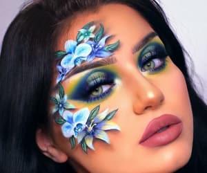 beautiful, blue flowers, and eyeshadow image